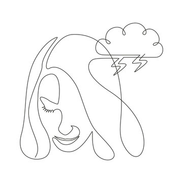 Continuous one line drawing of a woman face with storm cloud. Concept of confused feelings worried about bad mental health. Problems, failure and grief concept. Lineart Vector illustration