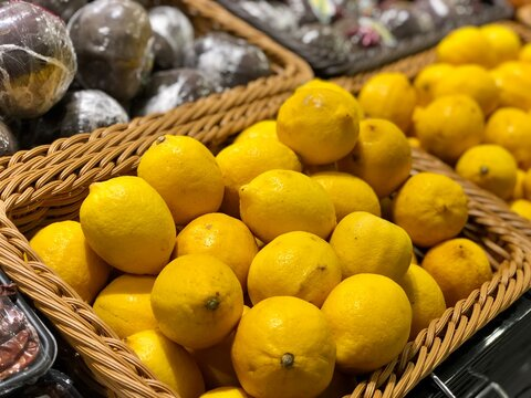 High Angle View Of Fruits In Basket For Sale