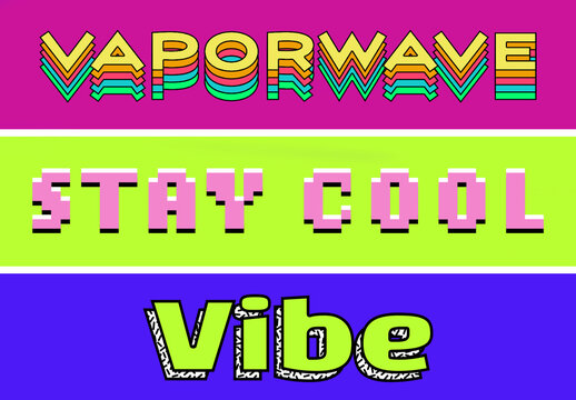 Neon Vaporwave Text Effects
