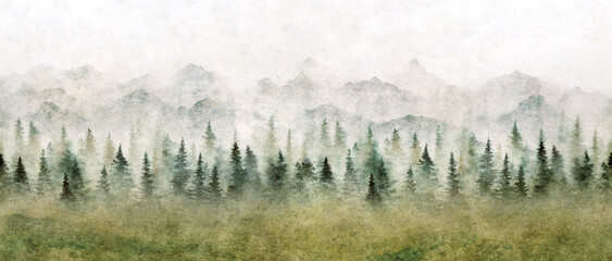 Watercolor landscape of forest and mountains. Wild nature background.