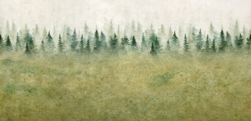 Seamless pattern with foggy spruce forest. Watercolor painting