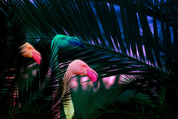Jungle background with colourful flamingo birds hiding in the leaves