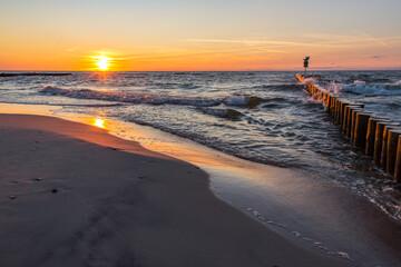 Fototapeta Zachód słońca Morze bałtyckie plaża Sunset Sea obraz