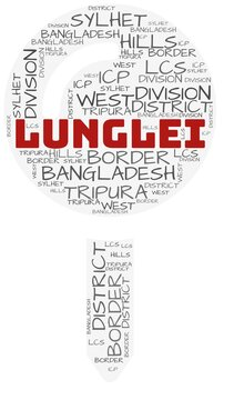 Lunglei and related concepts illustrated in a wordcloud shape like a map-pin over a white opaque background.
