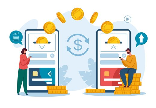 Money transfer. Receiving payment with smartphone. Digital bank or electronic wallet phone app, mobile money transactions vector concept. Capital flow, earning or making money, wireless devices