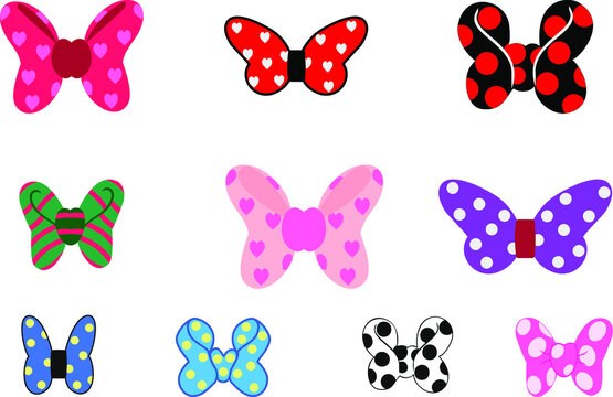 Set of bows. colored bow set. Bow set isolated on a white background. Suitable for printing. Vector