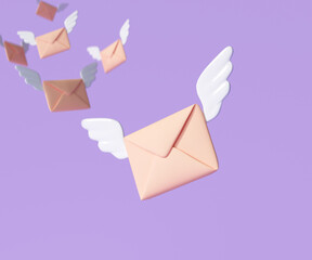 Obraz 3D Flying envelope wings, incoming mail notify, newsletter and online email concept. 3d render illustration - fototapety do salonu