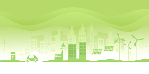 Fototapeta Ecology concept.Alternative renewable energy.Electric Car and Green eco city background.Environment conservation resource sustainable. obraz