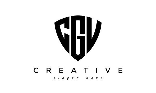 CGV letter creative logo with shield