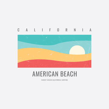 Vector illustration of letter graphics, California beach, creative clothing, perfect for the design of t-shirts, shirts, hoodies, etc.
