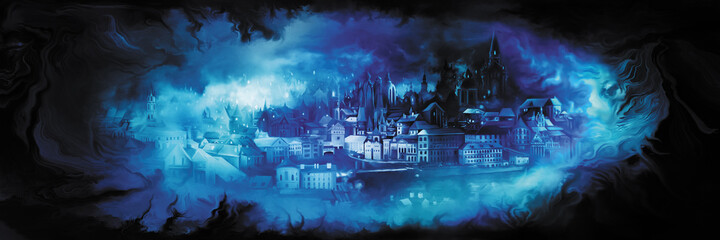 Obraz Fantasy vision city banner/Illustration horizontal banner with a dream of a fantasy town - fototapety do salonu