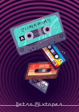 Retro mixtapes cartoon poster with audio mix tapes falling into deep hole with hypnotic pattern. Cassettes, media or music store ad in vintage style, analog multimedia devices, Vector illustration