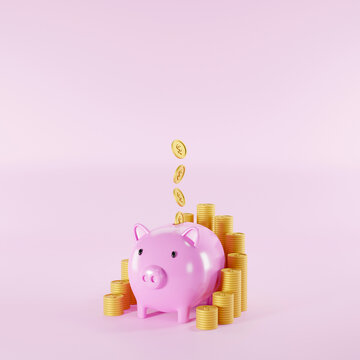 Save money and investment concept. Piggy bank and coins stack on pink background. 3d illustration
