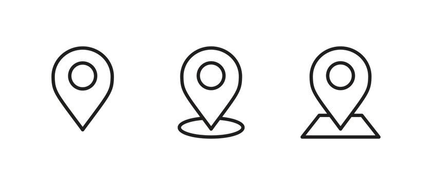 Pin Map icon set, Navigation location icon vector