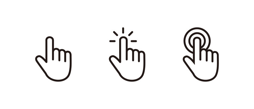Hand Cursor icon set, Click icon vector