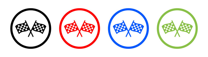 Finish line concept. Checkered or chequered flag for car racing flat vector icon.