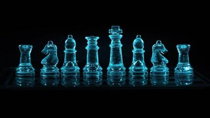 Fototapeta Szklane szachy podświetlane w kolorach rgb obraz