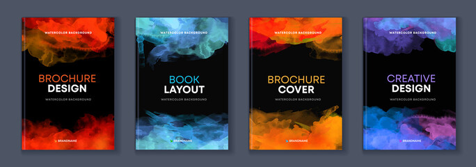 Fototapeta Watercolor booklet brochure colourful abstract layout cover design template bundle set with black background obraz