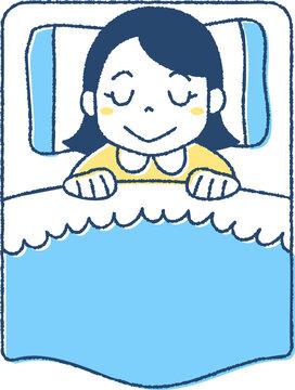 ベッドで眠る女の子