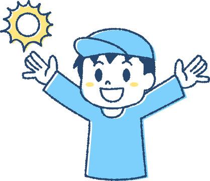 熱中症対策で帽子をかぶる子ども