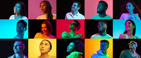 Portraits of group of people on multicolored background in neon light, collage.