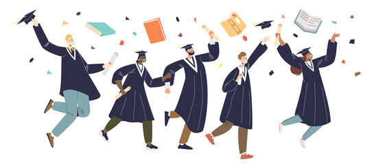 Fototapeta Graduating students group, graduates jumping. Class celebrate college or university graduation obraz