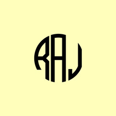 Obraz Creative Rounded Initial Letters RAJ Logo. - fototapety do salonu