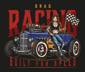 Fototapeta Drag racing vintage colorful label obraz