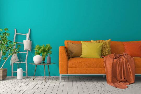 Mockup poster of colorful living room with orange sofa. Scandinavian interior design. 3D illustration