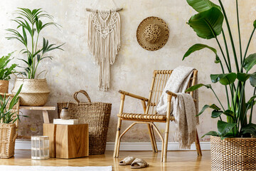 Stylish Floral Composition Living Room Interior With Rattan Armchair Lot Tropical Plants Design Pots