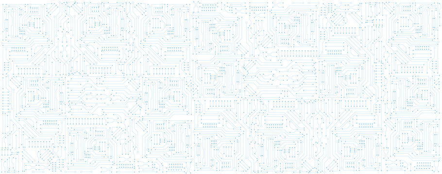 circuit board electronic or electrical blue line on white engineering technology concept vector panorama background