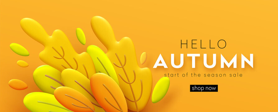 Hello Autumn 3d minimal background with autumn yellow, orange leaves. 3d Fall leaves background for the design of Fall banners, posters, advertisements, cards, sales. Vector illustration