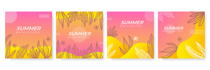 Vector set of colourful social media stories design templates, backgrounds with copy space for text - summer landscape. Summer background with leaves and waves Wall mural