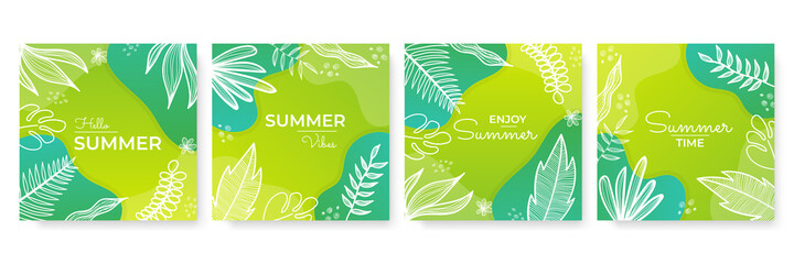 Collection of green yellow summer background set with palm, leaves ,flower, blob. Editable vector illustration for invitation, postcard, post stories social media template and website banner