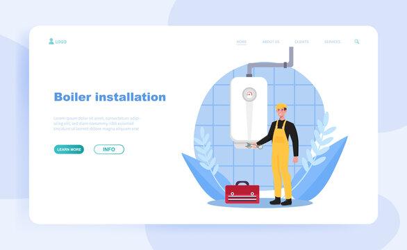 Male plumber is installing water heater or boiler