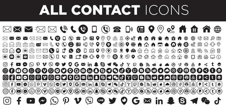Set contact icons and social media logos.