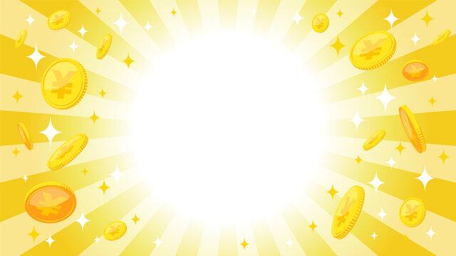 円コインと日の出背景