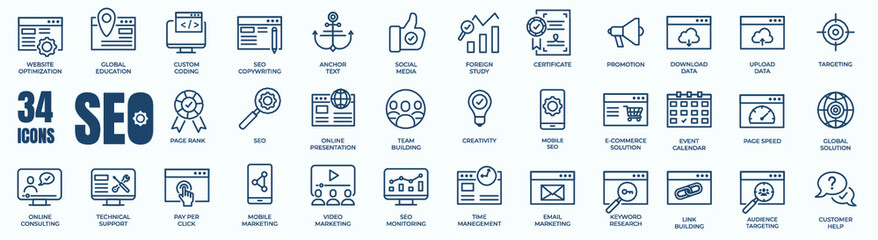 Obraz Set of editable line icons of SEO - Search Engine Optimization. Thin line web icon collection. Simple vector illustration of development, optimization, analysis, and analytic. - fototapety do salonu