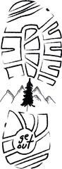 Mountain walk footstep motivation icon