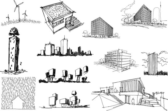 many hand drawn architectectural sketches of a modern abstract architecture and detached houses and urban ideas