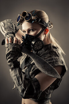 portrait beautiful woman war with kukri in hands and mask in cyberpunk style