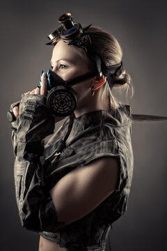 profile face woman in steampunk style and gas mask