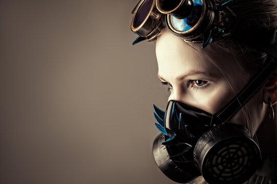 woman in gas mask closeup