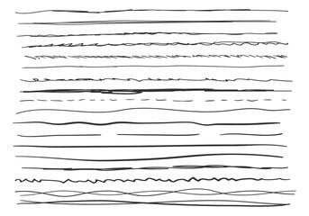 Fototapeta Set of wavy hand drawn horizontal lines. obraz