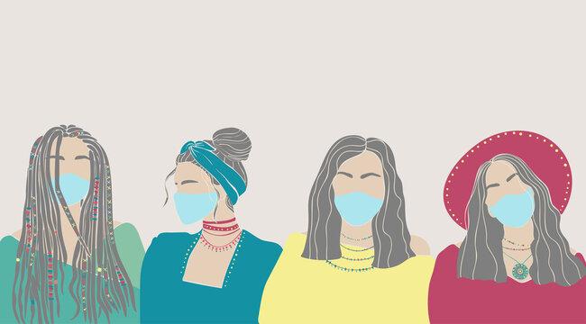 Beautiful hand drawn character women face mask drawn on white background. Coronavirus epidemic protective. Cartoon people fashion style. Vector illustration. Virus concept. Grey background.