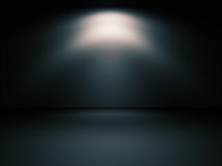 Habitación oscura y luz puntual de foco en la noche. Pared y suelo iluminado - fototapety na wymiar