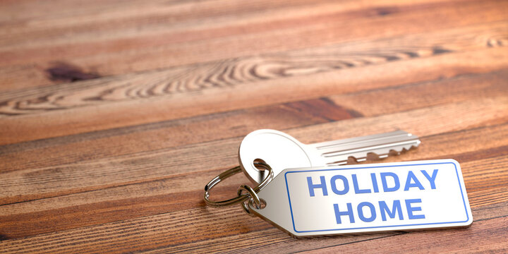 Holiday Home - keychain with blue engraving