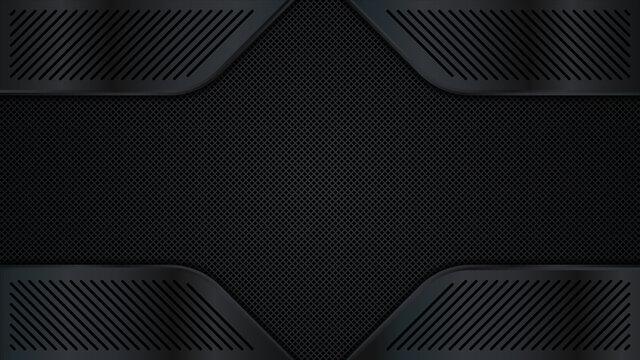 Black metal texture background. Metal grid. Vector illustration