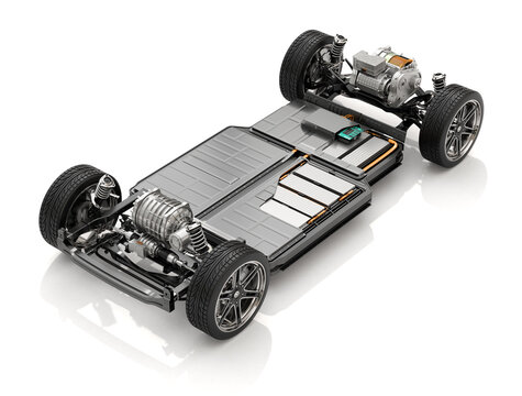 Cutaway view of Electric Vehicle Chassis with battery pack on white background. 3D rendering image.