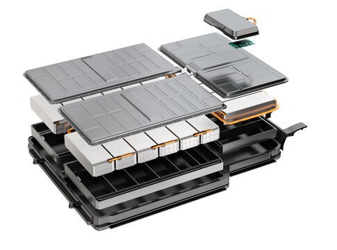 Exploded view of Electric Vehicle's battery pack isolated on white background. 3D rendering image.